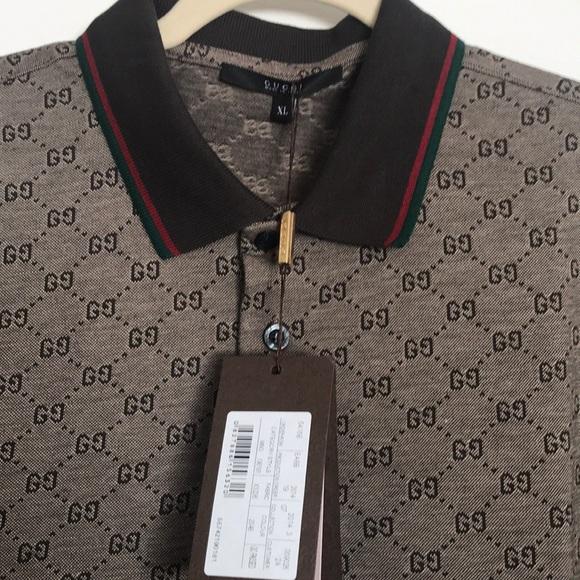 6178a321049 💯Gucci Men s Polo Shirt  GG Print Brown XL   NWT